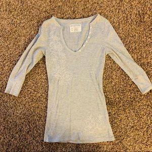 Grey Aeropostale Embroidered Stretch Sweater